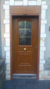 Porte d'entrée PVC plaxé chêne doré