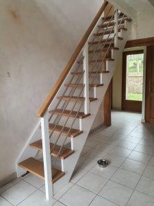 Escalier bois rampe tube inox